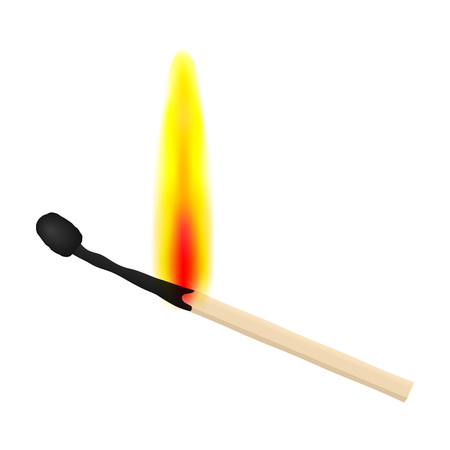 Match on fire on white background. Vector illustration. Stock Vector - 102593845