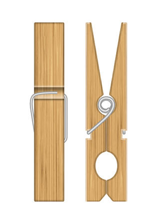 Wooden clothespins on a white background. Vector illustration.