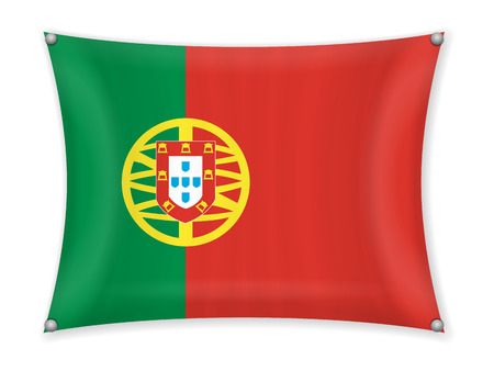 Waving Portugal flag on a white background.