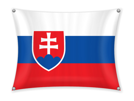 Waving Slovakia flag on a white background. Illustration