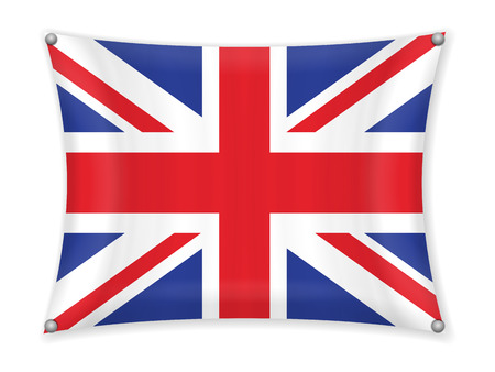 Waving UK flag on a white background. Illustration