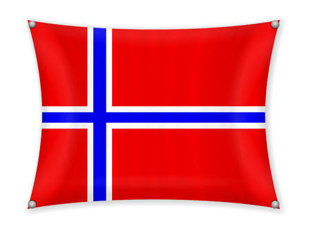 Waving Norway flag on a white background.