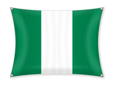 Waving Nigeria flag on a white background. Illustration