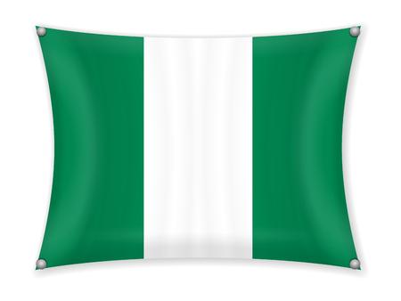 Waving Nigeria flag on a white background. 일러스트