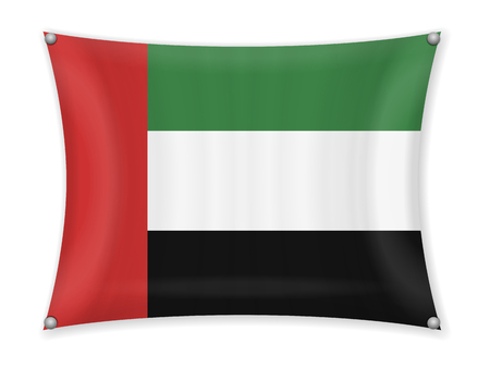 Waving UAE flag on a white background.