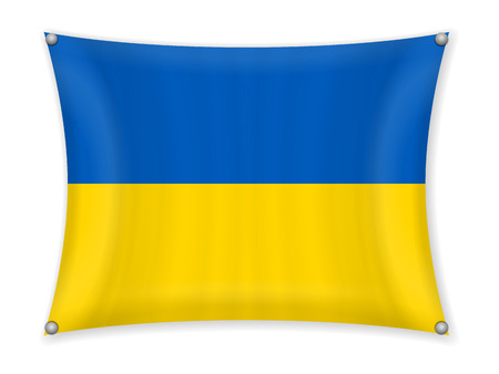 Waving Ukraine flag on a white background.