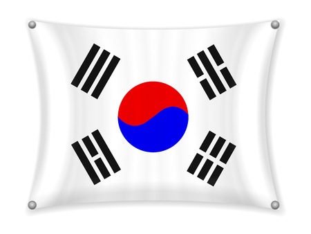 Waving South Korea flag on a white background.
