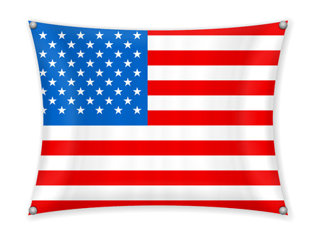 Waving USA flag on a white background.