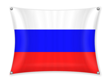 Waving Russia flag on a white background. Illustration