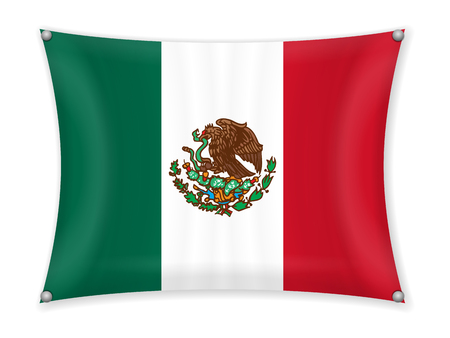 Waving Mexico flag on a white background. Illustration
