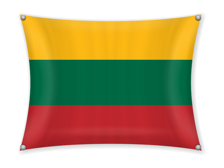 Waving Lithuania flag on a white background. Illustration