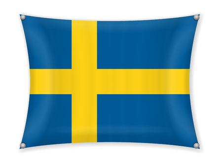 Waving Sweden flag on a white background.