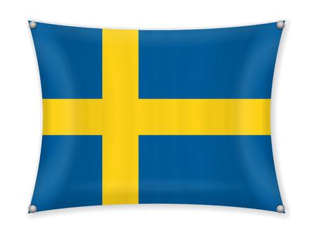 Waving Sweden flag on a white background. Stock fotó - 102964228