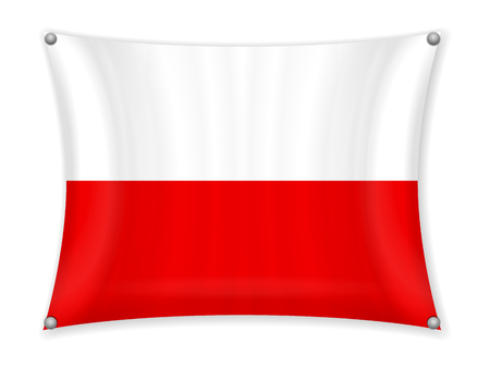 Waving Poland flag on a white background.
