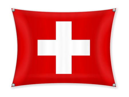 Waving Switzerland flag on a white background. Illustration
