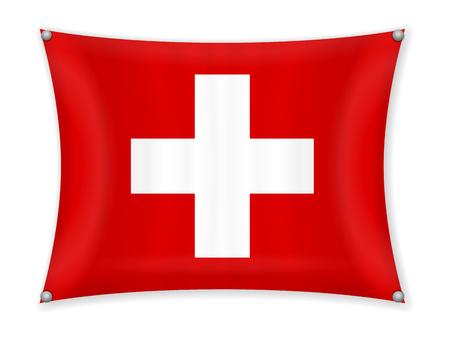 Waving Switzerland flag on a white background. 일러스트