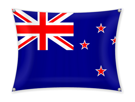 Waving New Zealand flag on a white background.
