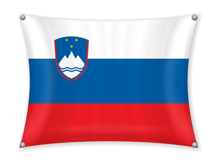 Waving Slovenia flag on a white background.