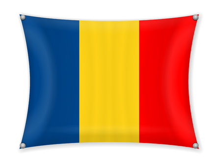 Waving Romania flag on a white background.