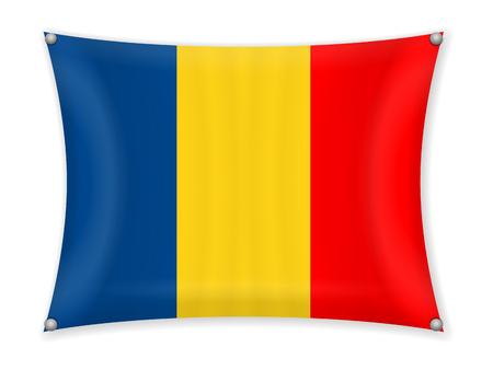 Waving Romania flag on a white background.