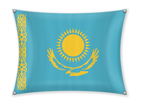 Waving Kazakhstan flag on a white background.