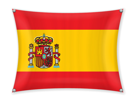 Waving Spain flag on a white background. Illustration