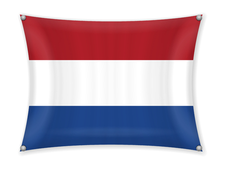 Waving Netherlands flag on a white background. Illustration