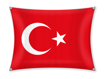 Waving Turkey flag on a white background. Illustration