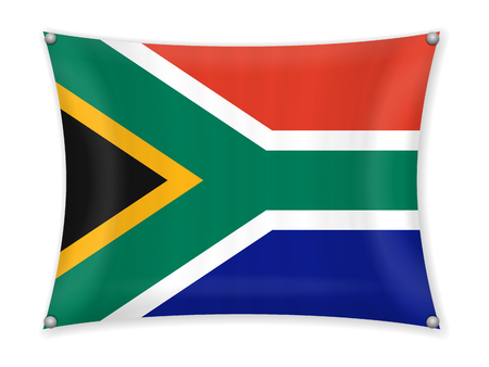 Waving South Africa flag on a white background.