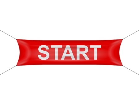 Start banner on a white background. Illustration