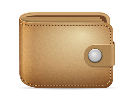 Leather wallet on a white background.