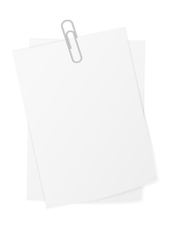 Paper sheet and paper clip on a white background. Archivio Fotografico - 102990048