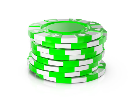Casino chips on a white background. 3d illustration. Stock Photo
