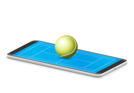 Smart phone tennis on a white background.