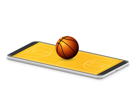 Smart phone basketball on a white background.