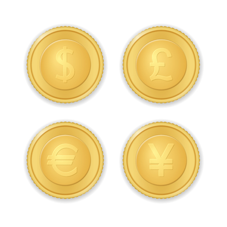 Gold coins with currency symbols on a white background.