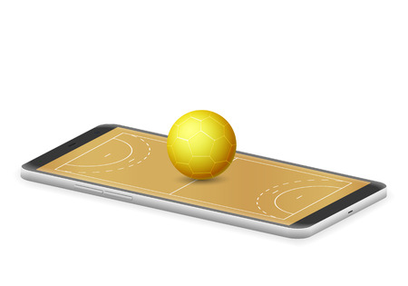 Smart phone handball on a white background. Иллюстрация