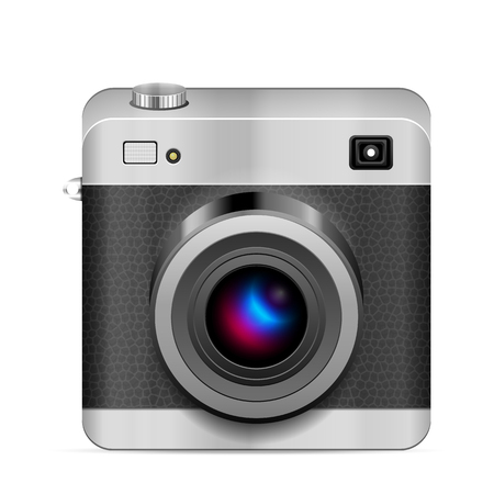Photo camera icon on a white background.