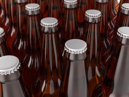 Few beer bottles background. 3D illustration.