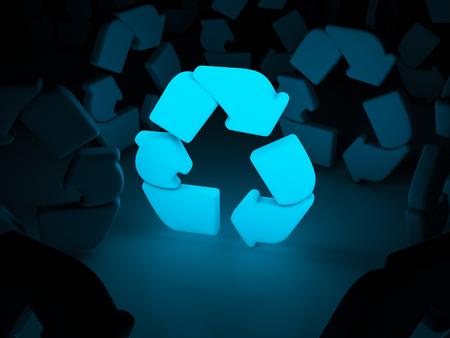 Light recycle symbol on dark background. 3d illustration.