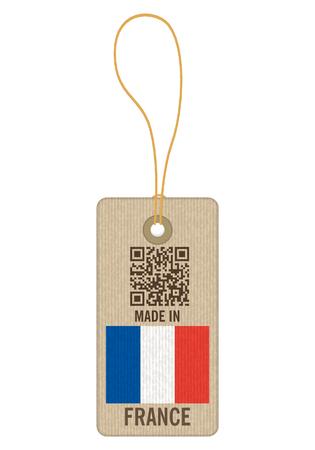 Tag fabriqué en France sur fond blanc.