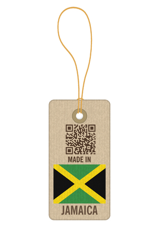Tag made in Jamaica on a white background.