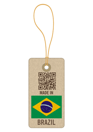 Tag made in Brazil on a white background. Vectores