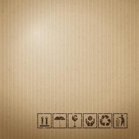 Fragile symbols on cardboard paper background. Vector illustration. Stock Illustratie