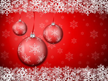 Christmas background with snowflakes and balls. Vector illustration.