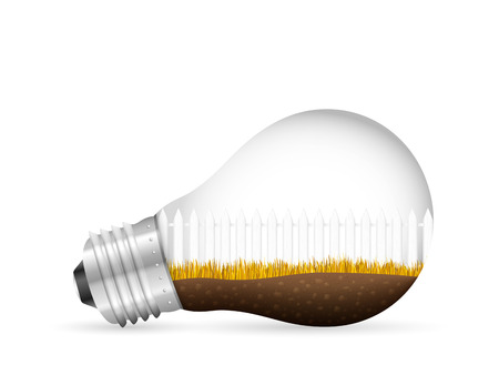 Landscape in light bulb on a white background. Vectores