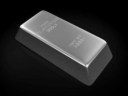 Platinum bar on a white background. 3D illustration.