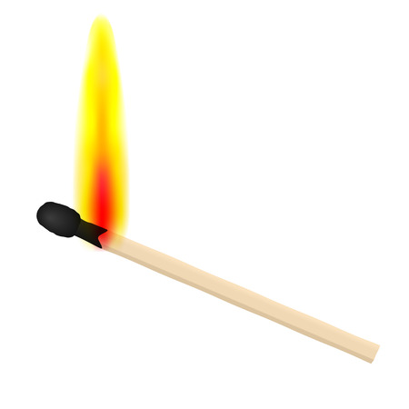 Match on fire on white background. Vector illustration.