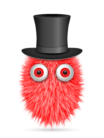 Hairy cartoon on a white background. Vector illustration. Иллюстрация