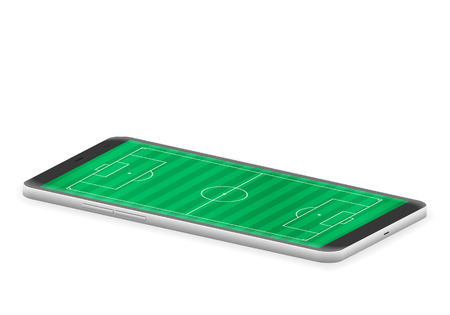 Smart phone soccer field on a white background.